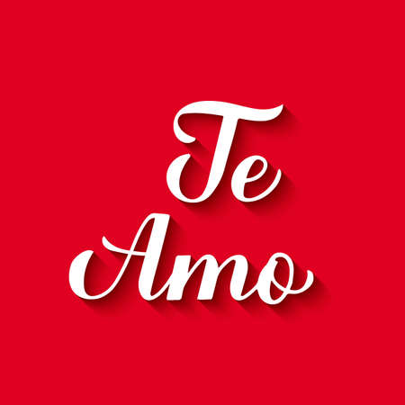 Te Amo calligraphy hand lettering on red background. I Love You in Spanish. Valentines day typography poster. Vector template for banner, postcard, greeting card, logo design, flyer, etc. Ilustração