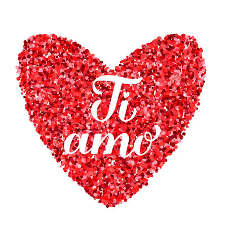 Ti Amo calligraphy hand lettering. I Love You inscription in Italian. Valentines day greeting card. Vector template for banner, postcard, typography poster, t-shirt, logo design, flyer, sticker, etc.