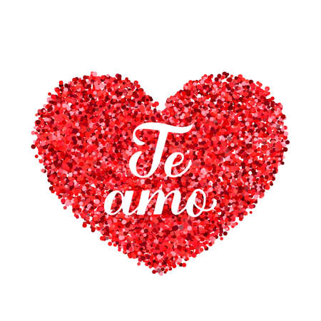 Te Amo calligraphy hand lettering. I Love You inscription in Spanish. Valentines day greeting card. Vector template for banner, postcard, t shirt, typography poster, logo design, flyer, sticker, etc. Ilustração