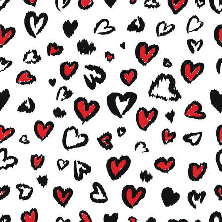 Valentine Leopard or cheetah seamless pattern. Trendy animal print. Spotted red and dark gray hearts imitate jaguar fur. Vector background for textile, fabric, wallpaper, wrapping paper, etc.