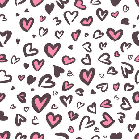 Valentine Leopard or jaguar seamless pattern. Trendy animal print. Spotted pink and dark gray hearts imitate cheetah fur. Vector background for fabric, textile, wallpaper, wrapping paper, etc