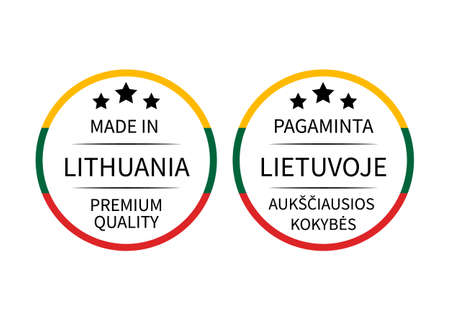 Made in Lithuania round labels in English and in Lithuanian languages. Quality mark vector icon. Perfect for logo design, tags, badges, stickers, emblem, product package, etc. ЛОГОТИПЫ