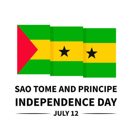Sao Tome and Principe Independence Day lettering with flag isolated on white. National holiday celebrated on July 12. Vector template for typography poster, banner, greeting card, flyer