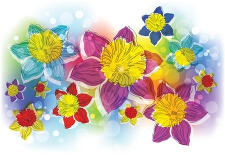 naif: stylized flowers Stock Photo