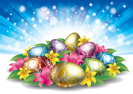 colored easter eggs with flowers Stock Vector - 9249946