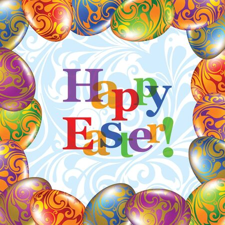 Easter greeting card with colored eggs Stock Vector - 9304170