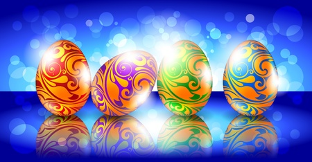 Easter greeting card with colored eggs Stock Vector - 9304169
