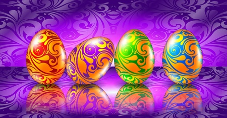 Easter greeting card with colored eggs Stock Vector - 9304171