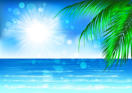 Branches of palm trees against the blue sea  Vector