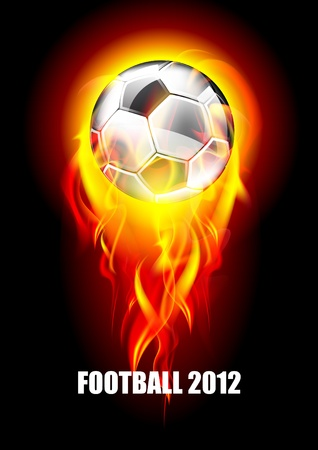 glowing ball: background with a soccer ball and fire