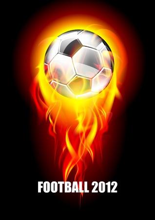 pelota de futbol: Fondo con un bal�n de f�tbol y fuego  Vectores