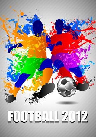 football match: Giocatori di calcio con un pallone da calcio. Illustrazione vettoriale.
