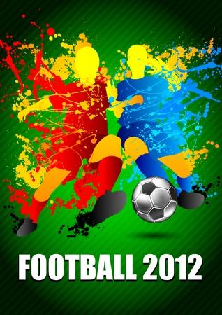 portero: Los jugadores de fútbol con un balón de fútbol. Ilustración vectorial.