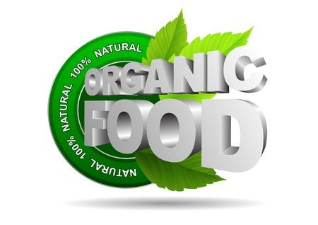 100% Organic food conceptual designs  Illustration