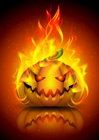 Holiday pumpkin on fire  Illustration