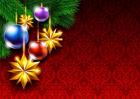 Christmas background with Christmas tree and decorations Vector