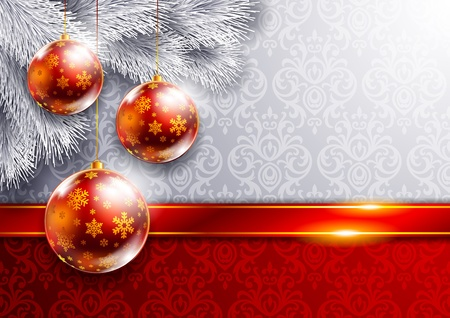 gold christmas background: New Year background with Christmas tree and red balls Illustration