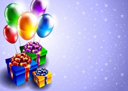 birthday wishes: background with balloons and gift boxes Illustration