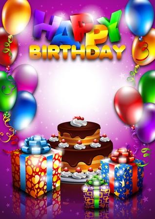 happy birthday cake: feliz cumplea�os Vectores