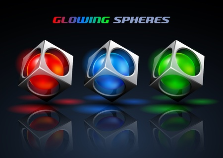 glowing spheres  Stock Vector - 12807651