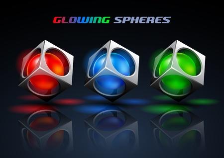 glowing spheres Stock Vector - 12807651