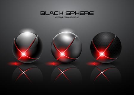 futuristic black sphere  Stock Vector - 12807654
