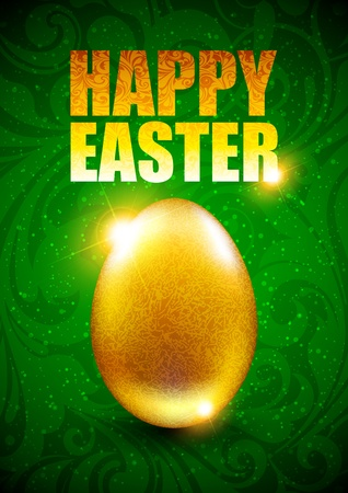 Easter background with golden egg Vector