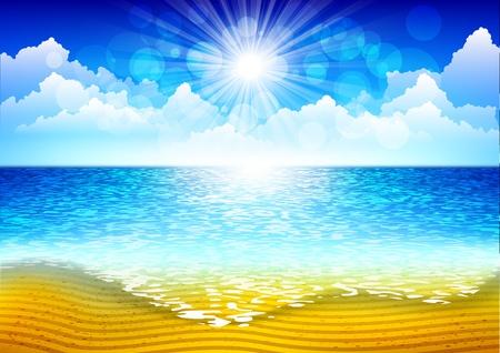고요한 장면: 해변 배경 일러스트