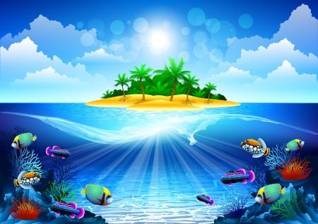 fiji: tropische oceaan Stock Illustratie