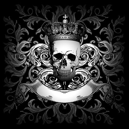 calavera: corona cr�neo y ornamento Vectores