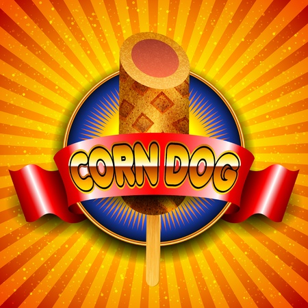 red hot: Vector illustration of corn dog