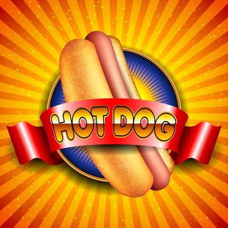 perro comiendo: Ilustraci�n de perro caliente