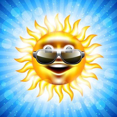 happy summer sun in sunglasses  Vector