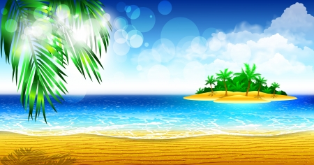 wave tourist: Tropical coast of the island Illustration
