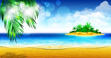Tropical coast of the island Illustration