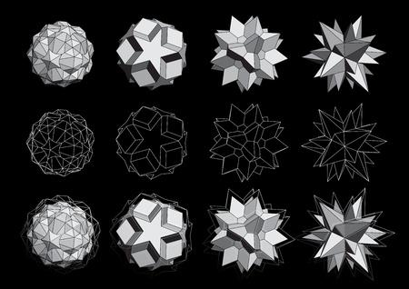 3D logos set Illustration