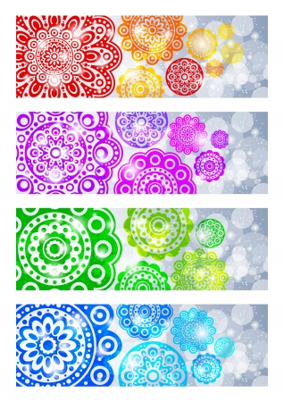 A set of banners with abstract flowers Stock Vector - 14763214