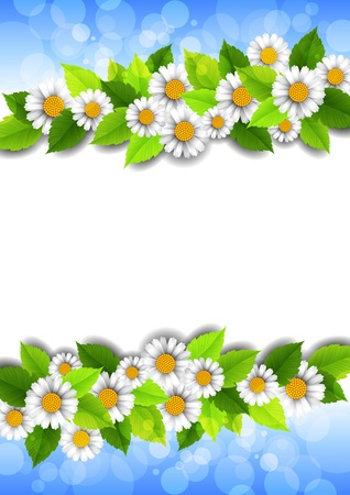 background with flowers and place for text Vector