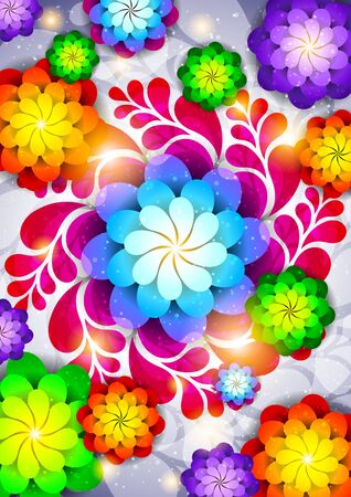 banner effect: Abstract background with flowers