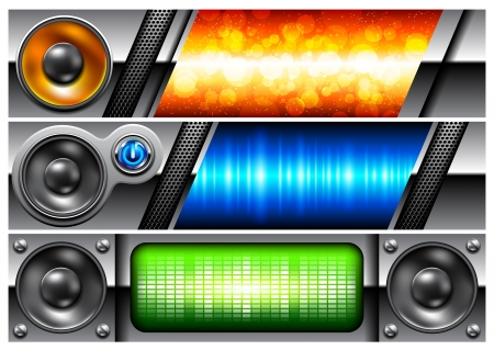 banner with speakers Stock Vector - 15099056