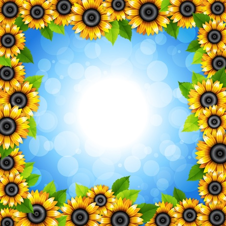 Background with sunflowers Illustration