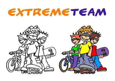 extreme team Stock Vector - 15498113