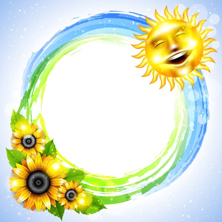 sunflower seed: Background with the sun and sunflowers Illustration