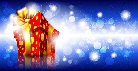 goldy: Fondo brillante con caja de regalo Vectores