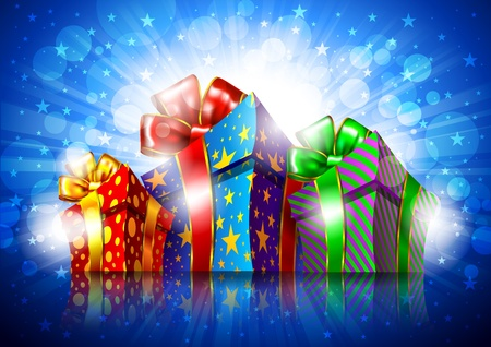 open present: Bright background with gift boxes