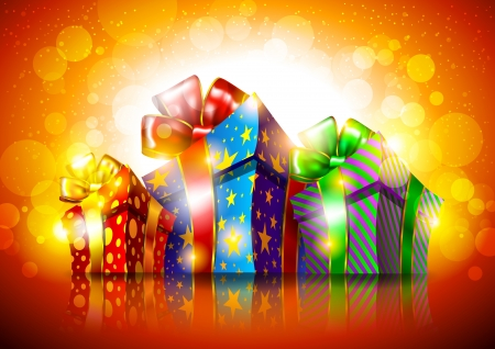 Bright background with gift boxes