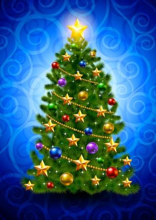 fir tree balls: Christmas tree  Illustration