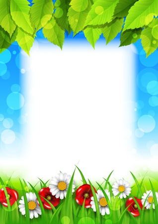 Spring background with daisies and poppies Иллюстрация