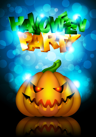Vector Halloween Party Background with Pumpkin Vector
