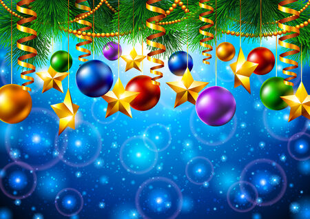 Christmas background with Christmas tree and to Vector
